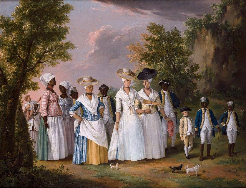 English: Free Women of Color with their Children and Servants in a Landscape, oil on canvas painting by Agostino Brunias, ca. 1764-1796